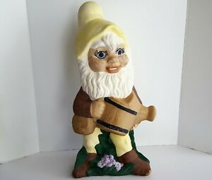 """Vintage 1980s Garden Gnome Large 18"""" Ceramic Statue Elf Figurine Watering Can"""