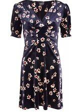 New TopShop Women Navy Floral Print Velvet Skater Dress SZ 2