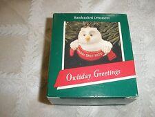 """1989 Vintage Hallmark Keepsake Christmas Ornament, """" Owliday Greetings""""~T8547"""