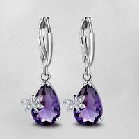 Butterfly Mystical Purple Amethyst Gemstone Silver Dangle Hook Earrings Jewelry