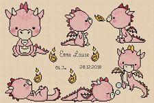 Sampler de Nacimiento Bebé Dragones en Rosa Punto de Cruz Kit Completo #5-115