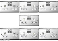 7 x BG Nexus NPC22W Polished / Mirror Chrome Twin Switch Sockets - 13amp