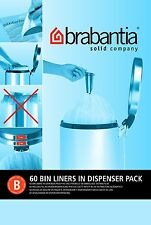 Brabantia 60 X Dispenser Pack Size B Type 5L 5 Litre Plastic Bin Liners Bags