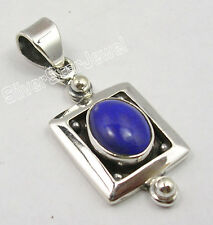 """925 Sterling Silver Natural LAPIS LAZULI LOVELY DELICATE Pendant 1.2"""""""