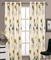 Dandelion Floral Ready Made Fully Lined Ring Top Eyelet Curtain Pair Red Teal