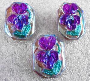 """3 Czech Crystal Glass Buttons #B580 - 23 mm or 7/8"""" - WILD VIOLET"""
