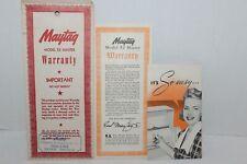Vintage~MAYTAG~Model E2 Master~WASHING MACHINE~Warranty & INSTRUCTION BOOKLET