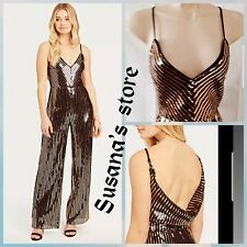 NWT Bebe GOLD Sequin Scuba Crepe Back Jumpsuit SIZE XS Sleek and sexy Look!!