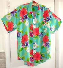 NWOT PLANET FISH Rayon Hand Made Hawaiian Funky Blue-Red Button-Down Shirt Sz M