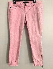 "Torrid 12 L Pink Crop Jeans Leopard Print Zipper Ankle  Stretch Women's 34"" X 25"