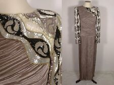 Vintage 1980s Fortuny Pleated Goddess Dress Gown S XS Beaded Sequins Art Deco