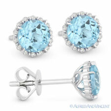 1.16ct Round Cut Blue Topaz & Diamond Pave Halo Stud Earrings in 14k White Gold