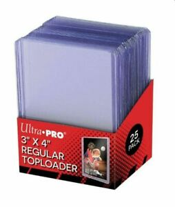 25 Ultra PRO Black Regular 35pt Card Toploaders Topload Toploader Loaders 3x4""