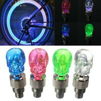 2x Skull Flashing LED Valve Cap Light Neon Wheel Spoke Tire Tyre Motorcycle Bick