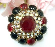 Vintage Costume Jewelry D & E Juliana Red Black Glass  Rhinestone Brooch Pin