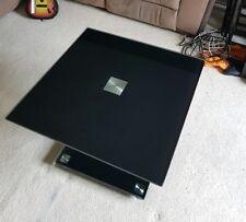 Black Modern Rectangle Glass & Chrome Living Room Coffee Table With Lower Shelf