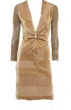 *09 GUCCI METALLIC GOLD W TIGER ORNAMENT COCKTAIL DRESS    SZ 42/6US  $1,695