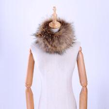 Unisex Winter knitted Raccoon Fur Collar Neck Warmer Ring  Snood Scarf  Headband