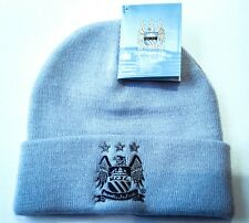 341047c6457cf Manchester City FC Knitted Bronx Beanie Official Turn Up Cuff Sky Blue Hat  BNWT