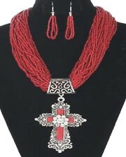 gorgeous red seed bead strand necklace with huge ornate cross & earrings