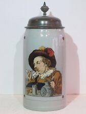 """Antique Mettlach 1L Stoneware Tapestry German Beer Stein """"Dutch Figure"""" #1641"""