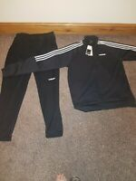 Brand New Mens Adidas Tracksuit Top&bottom Size Large black/white