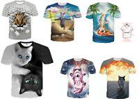 Cat Funny Full Print 3D T-Shirt Men Women Graphic Print Tee Size S - 7XL