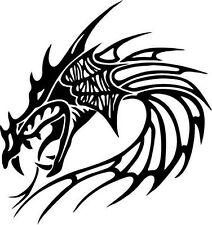 "Tribal Dragon Car Window Decor Vinyl Decal Sticker- 6"" Wide White"