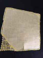 Vintage Solid Yellow With Crochet Trim Ladies' Hankie/Handkerchief