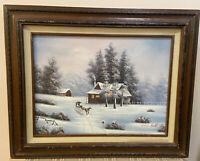 Oil On Canvas Painting By Van Bell Winter Scene Farmhouse Horse  Sleigh 21x17''