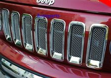 For JEEP PATRIOT 11-16 CHROME FRONT MESH GRILLE VENT HOLE FRAME TRIM COVER