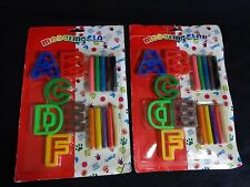 MODELING CLAY Set of 2 Packs A to F Alphabet Letter Molds 10 Color Sticks