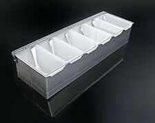 6 Compartments Condiment Dispenser Chilled Server Caddy Food Tray Salad Bar New