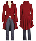 Chic Star Red Victorian Steampunk Tailcoat Style Jacket UK Size 6 to 28