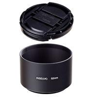Hot 52mm Tele Metal Black Lens Hood for Canon Nikon Sony Pentax Olympus lens+CAP