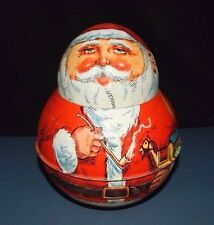 CHEN SANTA ROLY POLY Bristol Ware COLLECTIBLE TIN STORAGE CONTAINER 1980