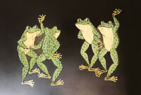 Large COUROC Dancing Frogs Tray Monterey Calif Inlaid Wood & Brass Mid Century