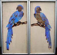 Vintage Art Deco Butterfly Wing Decoupage - Parrots, Framed