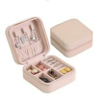 Portable Jewelry Storage Box Organizer Earring Ring Display Travel Zipper Case