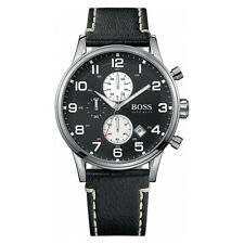 HUGO BOSS Uhr 1512569 Herren Chronograph Leder Schwarz Armbanduhr Analog Datum