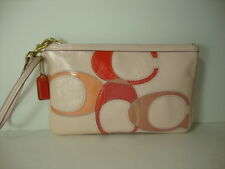 "Coach Inlaid ""C"" Patent Leather Large Wristlet  F45607"