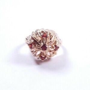 Vintage Garnet Ring Domed setting 9 carat yellow gold