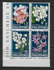 PHILIPPINES , 1962 , ORCHIDS , BLOCK OF 4 STAMPS , PERF , MNH