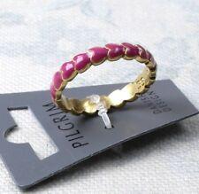 PILGRIM Ring K - L 50 51 Band Valentine Love Heart Romance Pink Enamel Gold BNWT