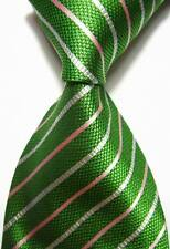 New Classic Stripes Green White Pink JACQUARD WOVEN 100% Silk Men's Tie Necktie