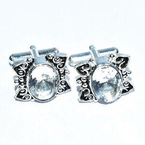 White Topaz 925 Solid Sterling Silver Cufflink