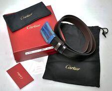 NEW Cartier 2-tone Mans Buckle Belt L5000434 Leather Black/Brown Reversible