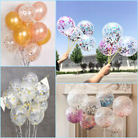 5pcs 12'' Gold Foil Confetti Latex Balloons Helium Wedding Birthday Party Decor