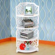 4 Tiers Hollow Carved Wooden Corner Stand Shelf Display Room Storage Holder Unit
