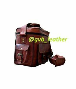 """Real Goat leather 11"""" vintage handmade messenger  satchel bag for camera, DSLR"""